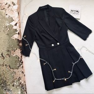 ZARA Blazer Dress Romper Black Pearls Sm